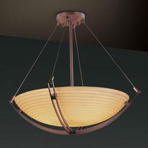 Porcelina Crossbar Three-Light Dark Bronze 3000 Lumen LED Pendant Bowl With Crossbar