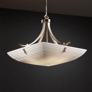 Porcelina Flat Bars 24-Inch Six-Light Brushed Nickel 5000 Lumen LED Pendant Bowl with Finials