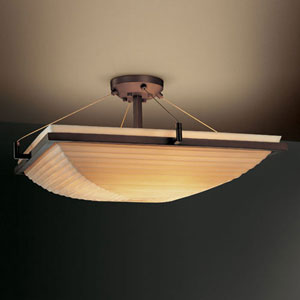 Porcelina Ring 18-Inch Three-Light Dark Bronze Square 3000 Lumen LED Semi-Flush Mount With Ring