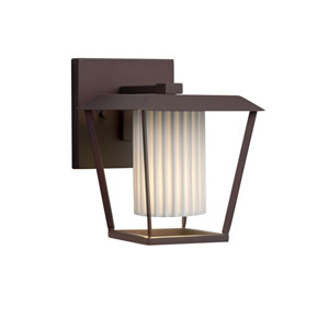 Limoges - Patina Dark Bronze One-Light Outdoor Wall Sconce with Off-White Pleated  Translucent Porcelain