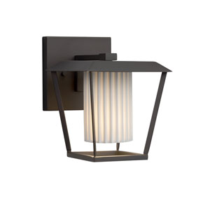 Limoges - Patina Matte Black LED Outdoor Wall Sconce with Off-White Pleated  Translucent Porcelain