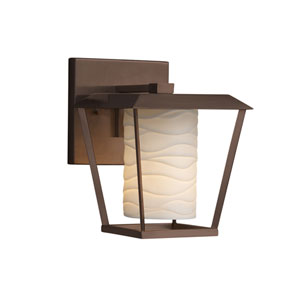 Limoges - Patina Dark Bronze One-Light Outdoor Wall Sconce with Off-White Wavy Translucent Porcelain