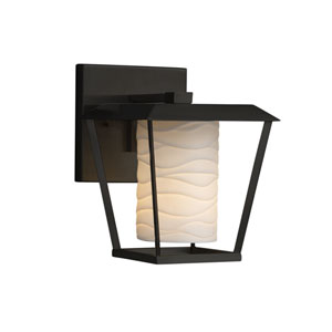Limoges - Patina Matte Black One-Light Outdoor Wall Sconce with Off-White Wavy Translucent Porcelain