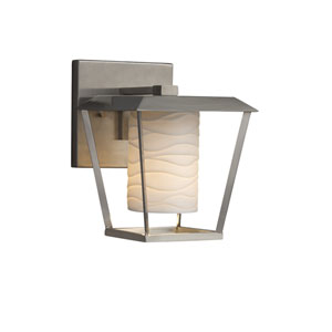 Limoges - Patina Brushed Nickel LED Outdoor Wall Sconce with Off-White Wavy Translucent Porcelain
