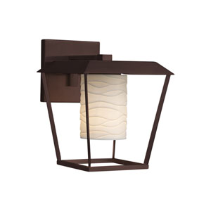Limoges - Patina Dark Bronze 12-Inch One-Light Outdoor Wall Sconce with Off-White Wavy Translucent Porcelain