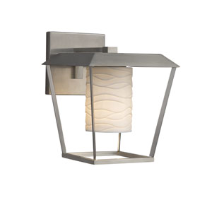 Limoges - Patina Brushed Nickel 12-Inch LED Outdoor Wall Sconce with Off-White Wavy Translucent Porcelain