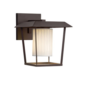 Limoges - Patina Dark Bronze LED Outdoor Wall Sconce with Off-White Waterfall Translucent Porcelain