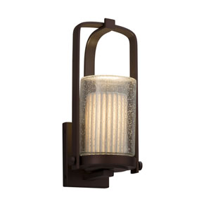 Limoges - Atlantic Dark Bronze 13-Inch One-Light Outdoor Wall Sconce with Off-White Pleated Translucent Porcelain