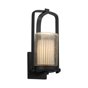 Limoges - Atlantic Matte Black 13-Inch LED Outdoor Wall Sconce with Off-White Pleated Translucent Porcelain