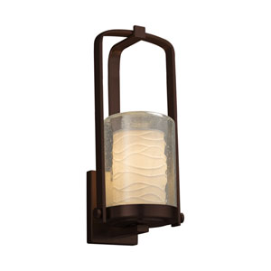 Limoges - Atlantic Dark Bronze 13-Inch One-Light Outdoor Wall Sconce with Off-White Wavy Translucent Porcelain
