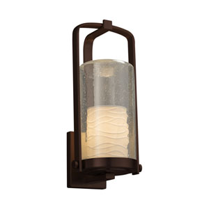 Limoges - Atlantic Dark Bronze 17-Inch One-Light Outdoor Wall Sconce with Off-White Wavy Translucent Porcelain