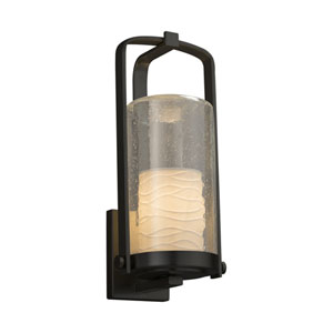 Limoges - Atlantic Matte Black 17-Inch One-Light Outdoor Wall Sconce with Off-White Wavy Translucent Porcelain