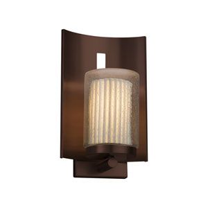 Limoges - Embark Dark Bronze 13-Inch One-Light Outdoor Wall Sconce with Off-White Pleated Translucent Porcelain