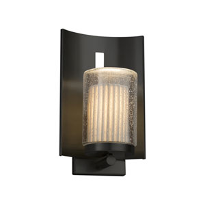 Limoges - Embark Matte Black 13-Inch LED Outdoor Wall Sconce with Off-White Pleated Translucent Porcelain