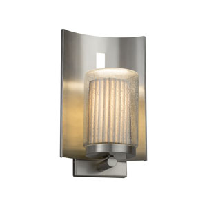 Limoges - Embark Brushed Nickel 13-Inch LED Outdoor Wall Sconce with Off-White Pleated Translucent Porcelain