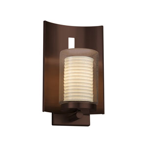 Limoges - Embark Dark Bronze 13-Inch One-Light Outdoor Wall Sconce with Off-White Sawtooth Translucent Porcelain