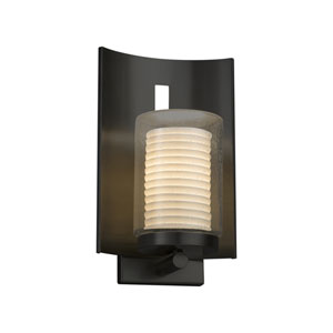 Limoges - Embark Matte Black 13-Inch One-Light Outdoor Wall Sconce with Off-White Sawtooth Translucent Porcelain