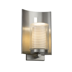 Limoges - Embark Brushed Nickel 13-Inch One-Light Outdoor Wall Sconce with Off-White Sawtooth Translucent Porcelain