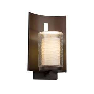 Limoges - Embark Dark Bronze 13-Inch One-Light Outdoor Wall Sconce with Off-White Wavy Translucent Porcelain