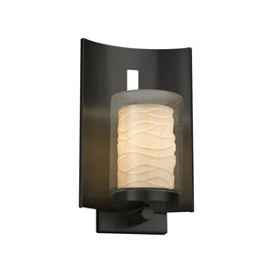 Limoges - Embark Matte Black 13-Inch One-Light Outdoor Wall Sconce with Off-White Wavy Translucent Porcelain