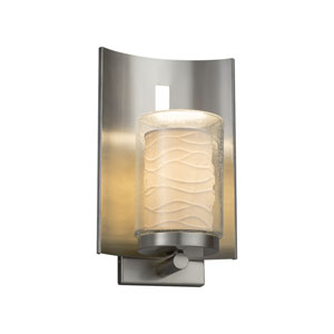 Limoges - Embark Brushed Nickel 13-Inch One-Light Outdoor Wall Sconce with Off-White Wavy Translucent Porcelain