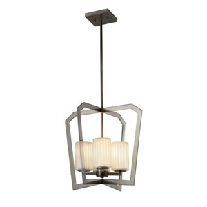 Limoges - Aria Brushed Nickel Four-Light Chandelier with Off-White Translucent Porcelain