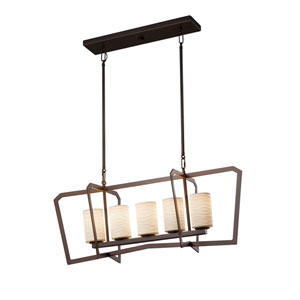 Limoges - Aria Dark Bronze Five-Light Linear Pendant with Off-White Wavy Translucent Porcelain