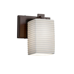 Limoges - Era Dark Bronze One-Light Wall Sconce with Off-White Sawtooth Translucent Porcelain