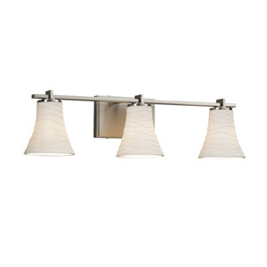 Limoges - Era Brushed Nickel Three-Light Bath Vanity with Off-White Wavy Translucent Porcelain