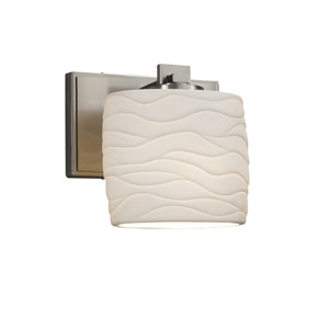 Limoges - Era Brushed Nickel One-Light Wall Sconce with Off-White Wavy Translucent Porcelain