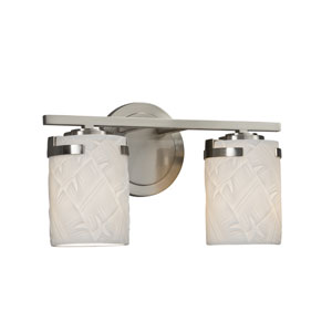 Limoges - Atlas Brushed Nickel Two-Light Bath Vanity with Off-White Translucent Porcelain