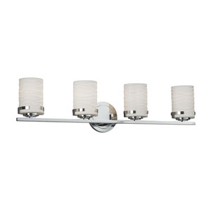 Limoges - Atlas Polished Chrome Four-Light LED Bath Vanity with Off-White Wavy Translucent Porcelain