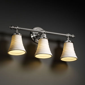 Limoges Tradition Three-Light Brushed Nickel Bath Fixture