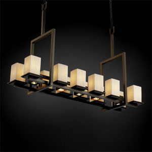 Limoges Montana 12-Up and Five-Downlight Dark Bronze Tall Bridge Chandelier