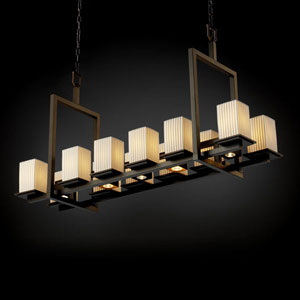 Limoges Montana 12-Up and Five-Downlight Dark Bronze Short Bridge Chandelier