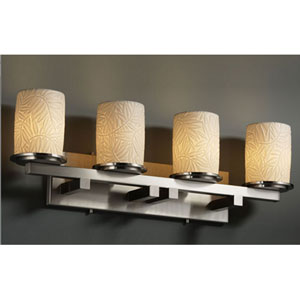 Limoges Dakota Four-Light Brushed Nickel Bath Fixture with Bamboo Porcelain Shades