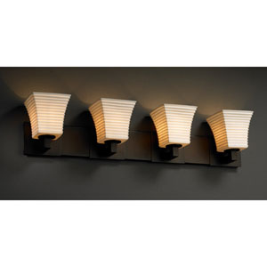 Limoges Dark Bronze Modular 4-Light Bath Bar with Flared Sqare Sawtooth Porcelain Shades