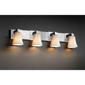 Limoges Polished Chrome Four-Light Bath Fixture with Round Pleated Porcelain Shades