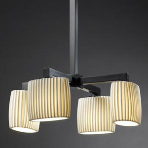 Limoges Matte Black Four Down-Light Chandelier with Pleated Oval Shades