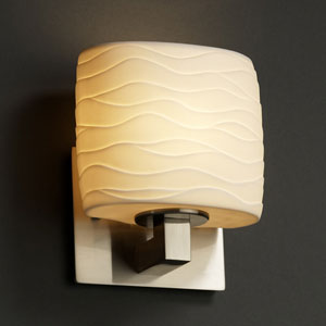Limoges Brushed Nickel One-Light Wall Sconce with Oval Wave Porcelain Shade