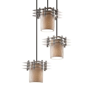 Limoges Polished Chrome Three-Light Flat Rim Cylinder Cluster Mini Pendant with Three Flat Bars and Bamboo Shade
