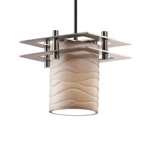 Limoges Polished Chrome One-Light Flat Rim Cylinder Mini Pendant with Two Flat Bar and Waves Shade