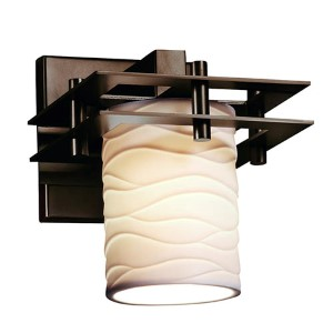 Limoges Metropolis Polished Chrome One-Light Flat Rim Cylindrical Wall Sconce with Waves Shade
