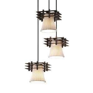 Limoges Matte Black Three-Light Round Flared Cluster Mini Pendant with Three Flat Bars and Pleats Shade