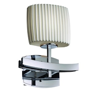 Limoges Archway Polished Chrome One-Light Oval Wall Sconce with Pleats Shade