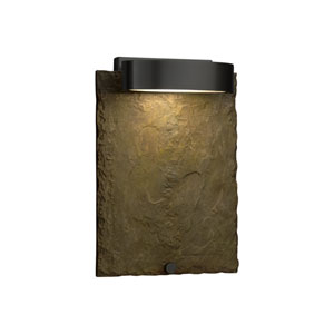 Slate - Litho Matte Black LED Outdoor Wall Sconce with Earth Natural Slate