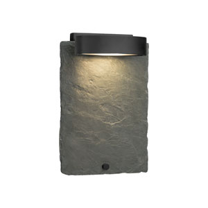 Slate - Litho Matte Black LED Outdoor Wall Sconce with Natural Slate