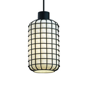 Wire Glass™  Matte Black One-Light Long Mini Pendant with Grid with Opal Glass