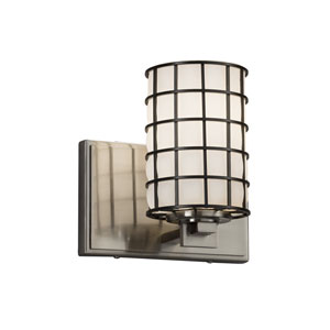 Wire Glass - Era Brushed Nickel One-Light Wall Sconce with Grid and Opal Wire Cage and Blown Glass