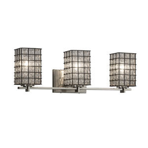 Wire Glass - Era Brushed Nickel Three-Light Bath Vanity with Grid and Clear Bubbles Wire Cage and Blown Glass